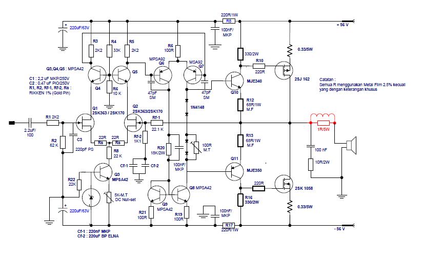 esquema amplificador mosfet: